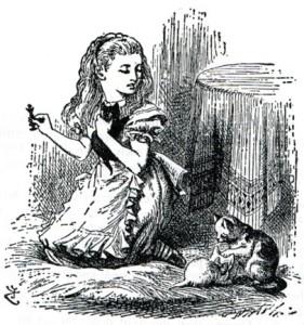 Alice illustrazione capitolo XII attraverso lo specchio - gatti